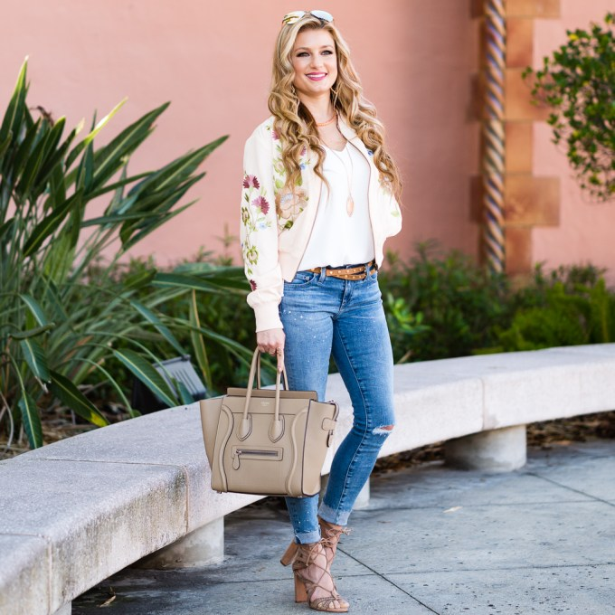 glamorous, floral bomber, ripped denim, celine micro, vince camuto heels, mirrored aviators, topshop, ag denim, kendra scott