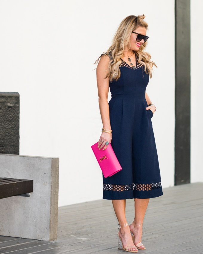 culottes, jumpsuit, sale, saint laurent clutch, steve madden, clear heels, celine sunglasses, look for less