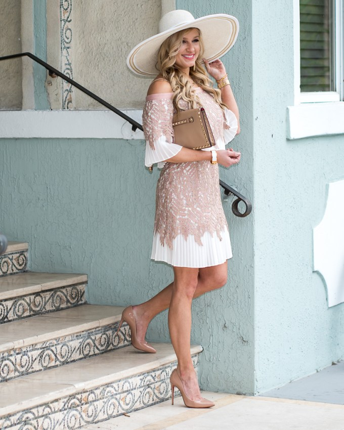sunhat, dress, lace, topshop, hinge, valentino, loubitton, pink, clutch, red bottoms, off-the-shoulder