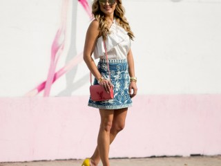devlin, one shoulder top, alice and olivia skirt, yellow pumps, louis vuitton, miami