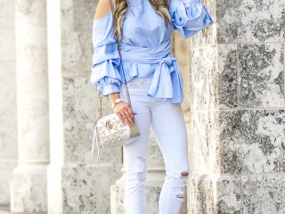 joa, blouson sleeve, puffy sleeve, white denim, ripped denim, mirrored aviators, gucci handbag, metallic handbag, steve madden heels