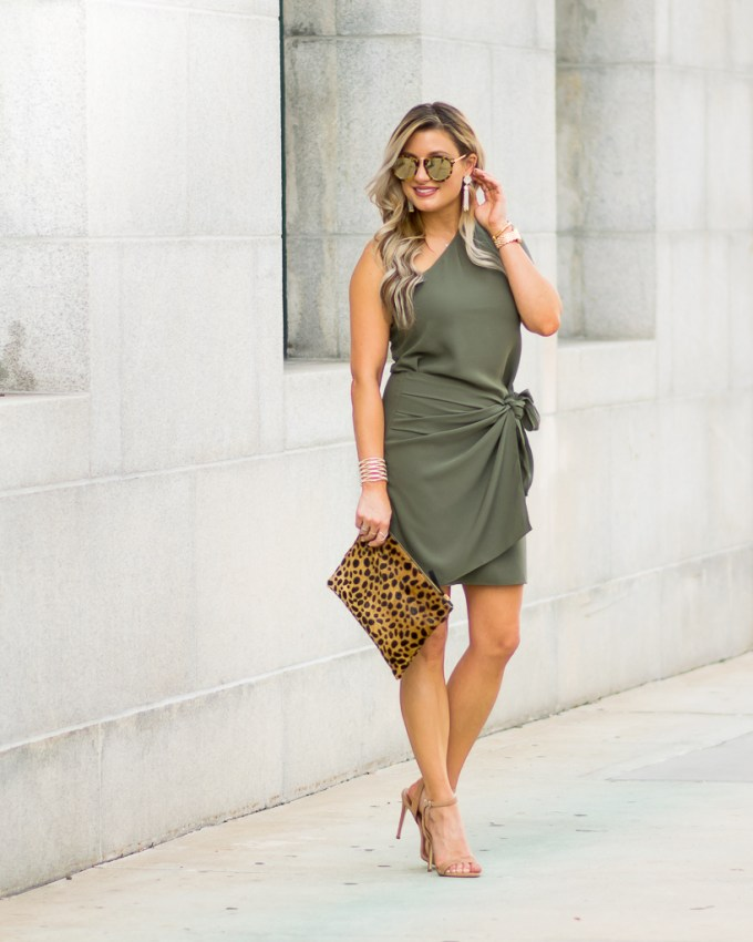 leopard clutch green faux wrap dress