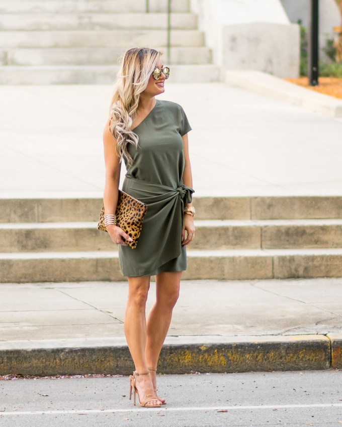 one shoulder olive green faux wrap dress