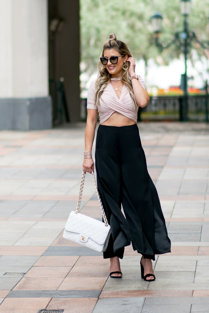 topshop culottes cropped top