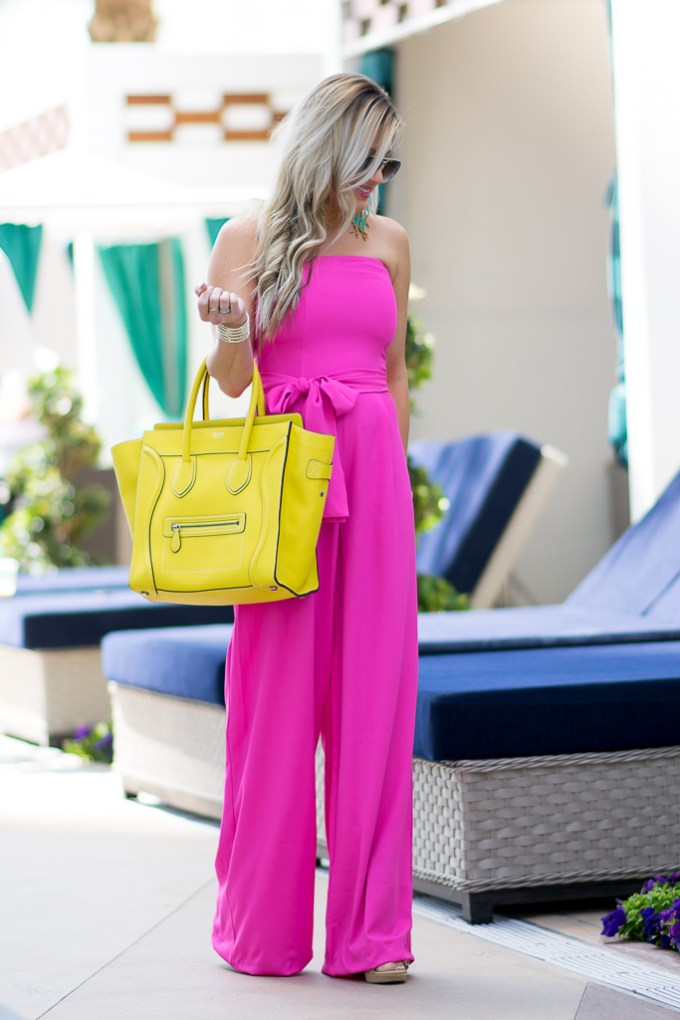 pink strapless jumpsuit spring staples