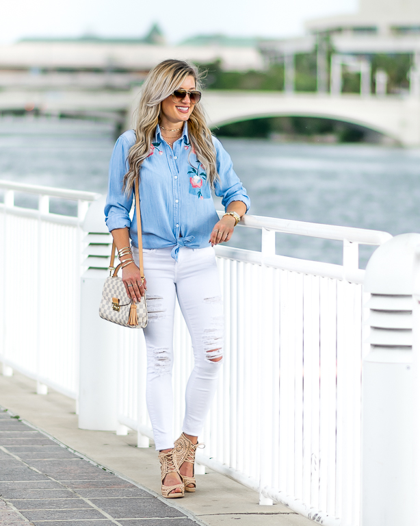 embroidery chambray white ripped denim