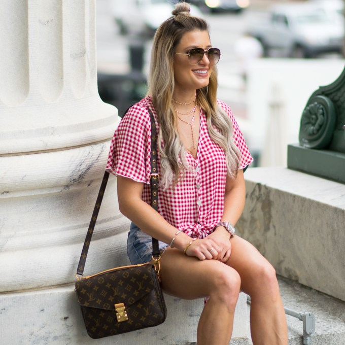 red checkered top cutoffs topshop