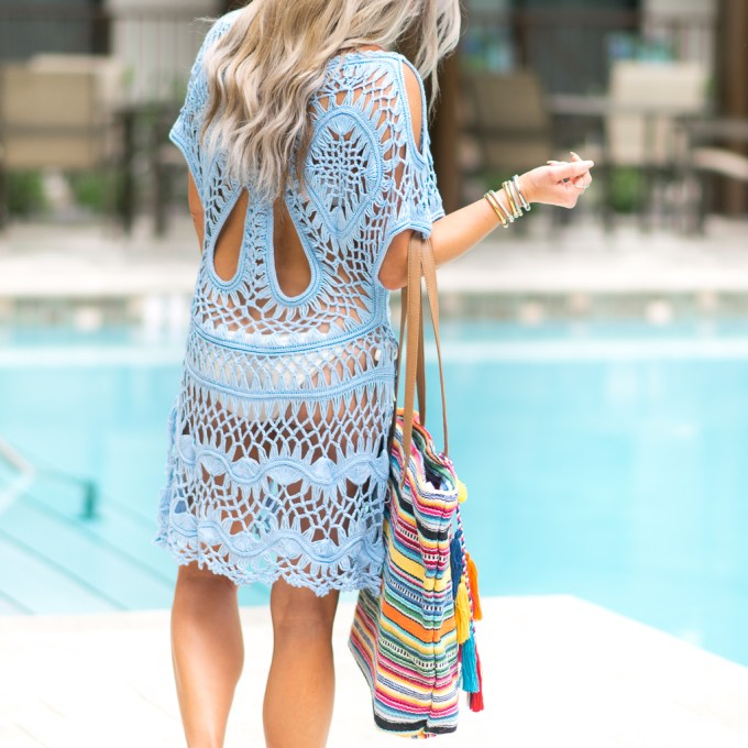 crochet dress beach bag tassels valentino rockstud