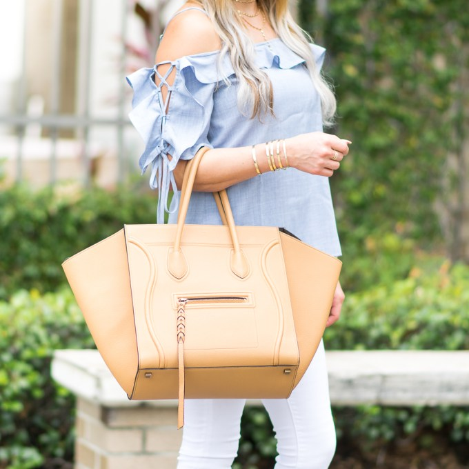 tie sleeve ruffles white denim celine phantom