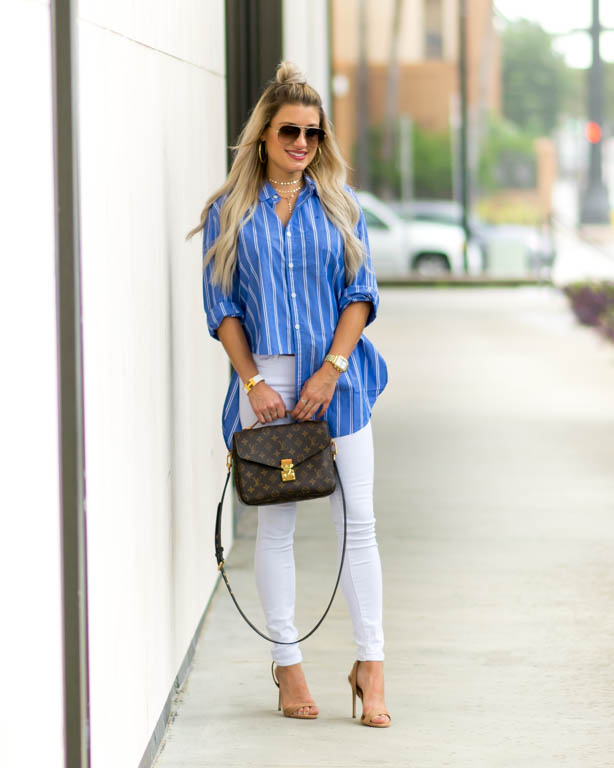 blue striped shirt white denim