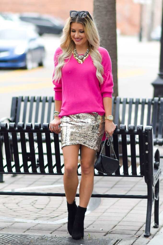 holiday chic sequin gold skirt