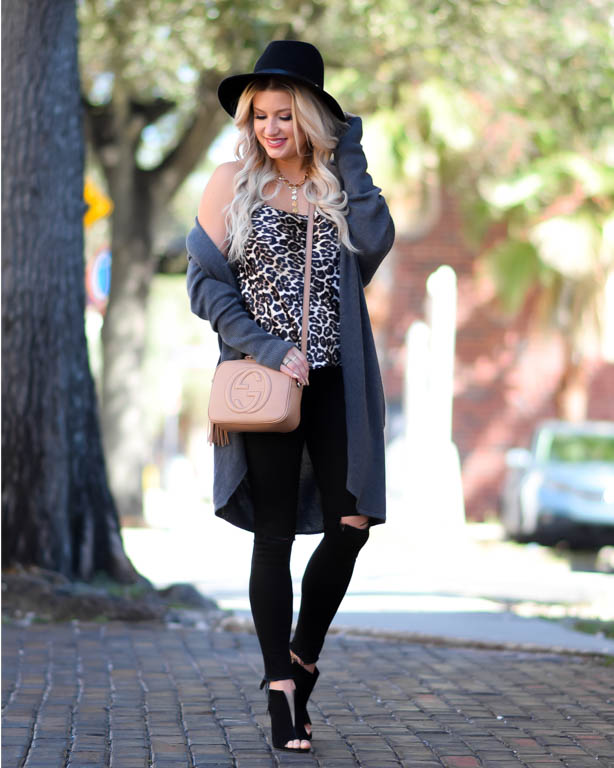 leopard cami black booties