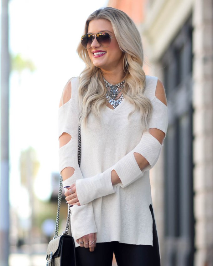 cold shoulder cut out sweater statement necklace