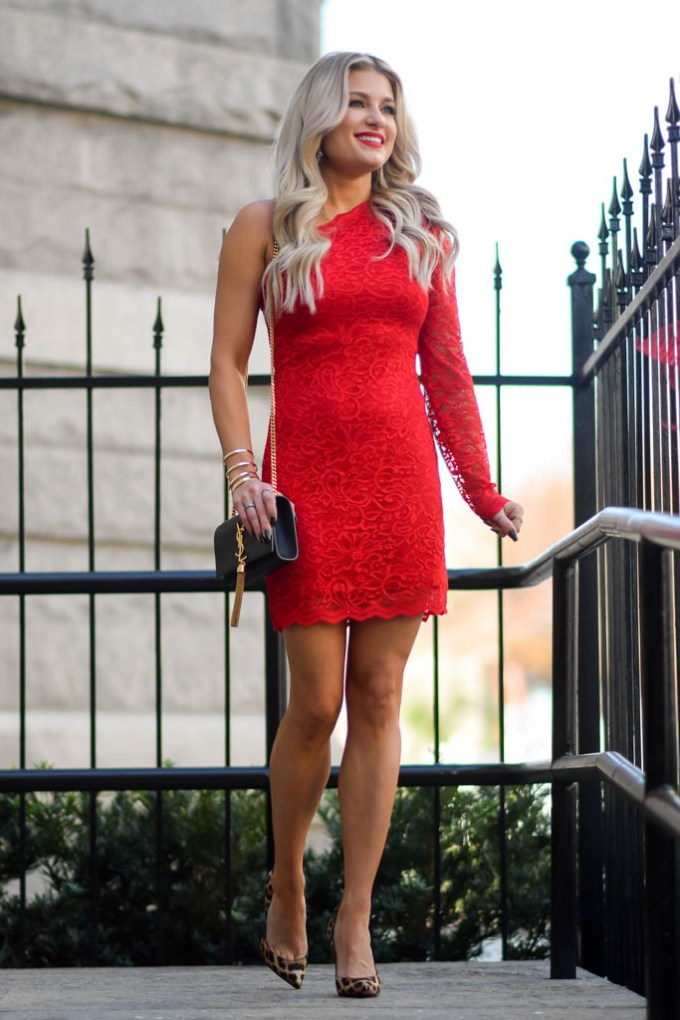 red lace one shoulder dress express