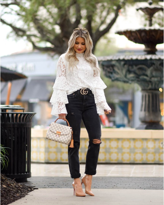 nude pumps white bell sleeve top