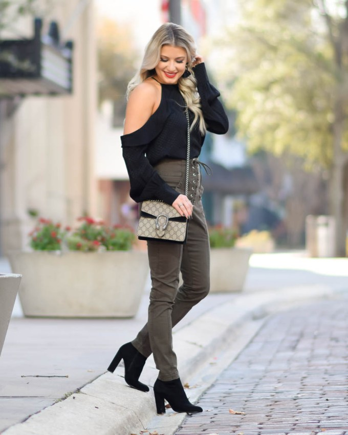 olive green alc pants steve madden booties