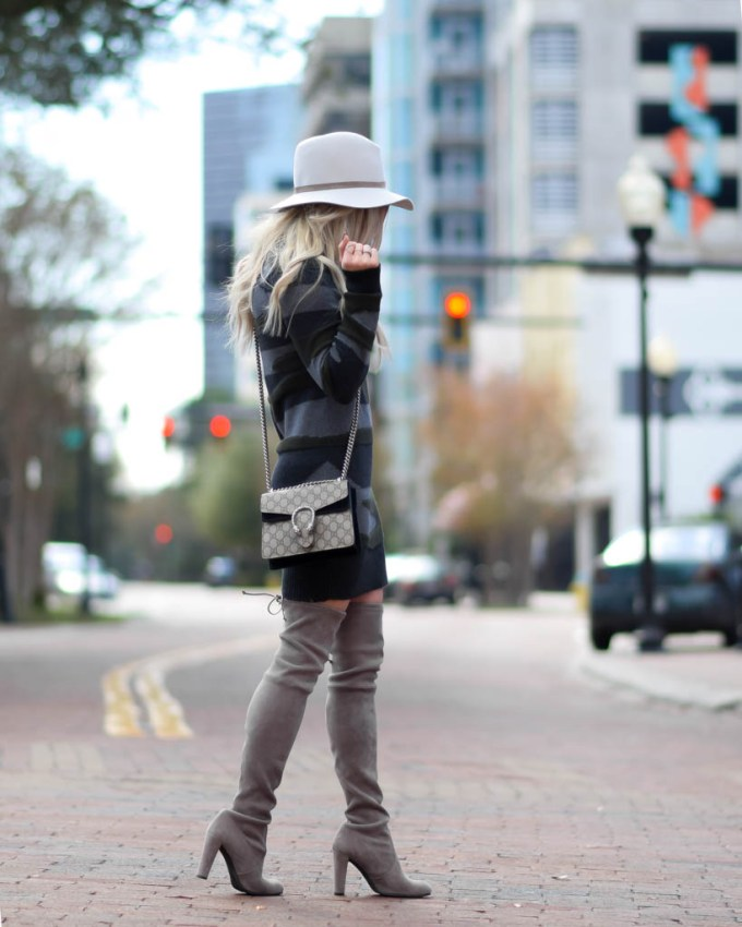 weitzman over the knee boots gucci bag