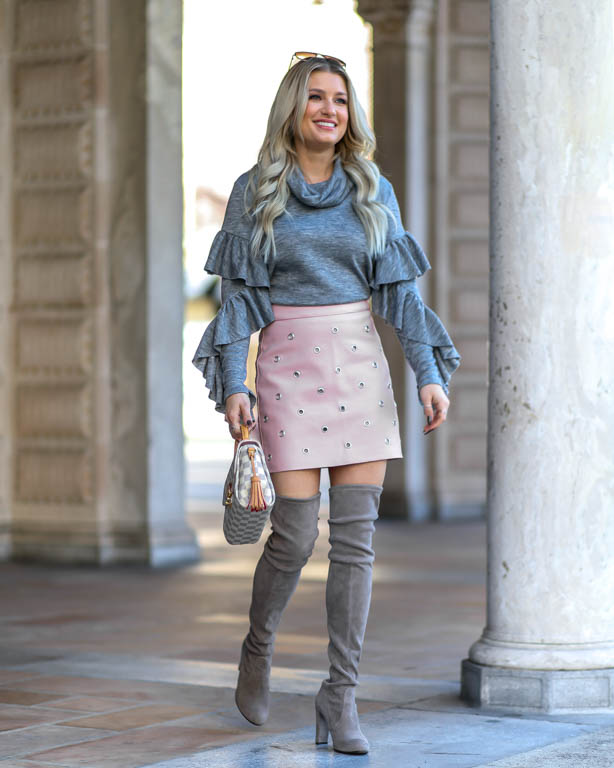 pink faux leather skirt