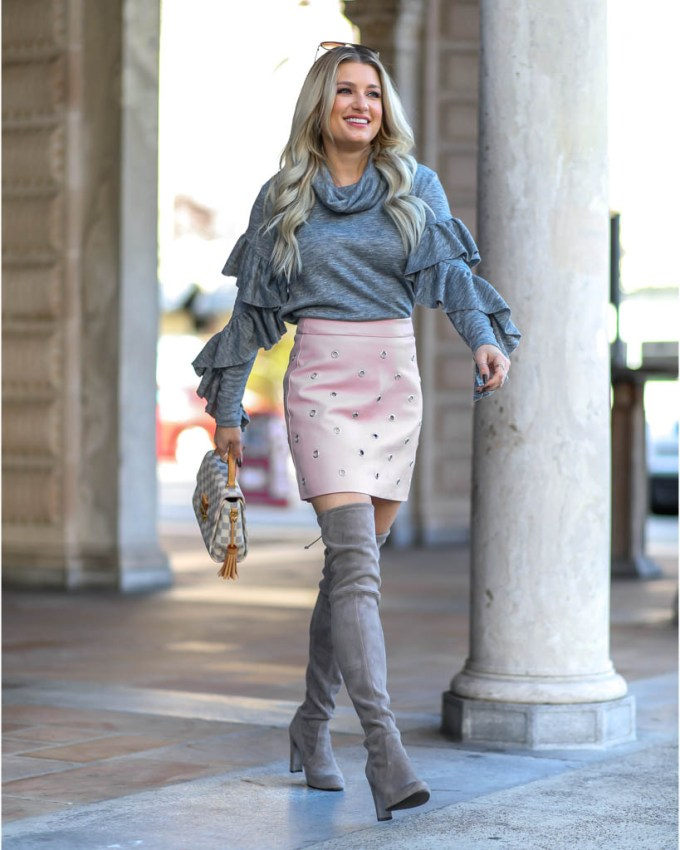 gray ruffle leith top nordstrom otk boots