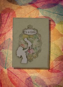 Its a Girl Maternity Greeting Card Laser Engraved Engraved