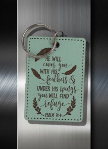 Key ring He will Cover You with His Feathers Under His Wings You will Find Refuge Ps 91 04