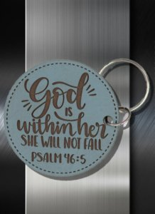 Key ring God is Within Her She Shall not Fail Psalm 46 05 Blue