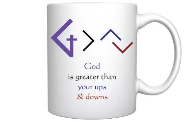 Christian Books and Gifts | 11oz Coffee Mug - God is greater than your ups and downs
