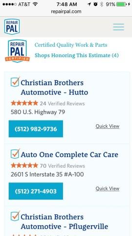 Certified repair shops, with ratings
