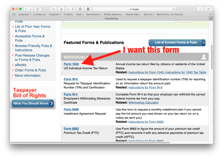 IRS.gov web page with link to 1040 form