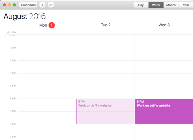 Calendar showing two appointments
