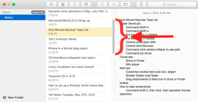 Mac Notes app, scroll bars showing.