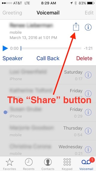 "iPhone ""share"" button on the voicemail screen"