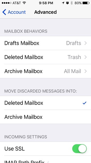 Advanced setting, showing Deleted Mailbox selected.