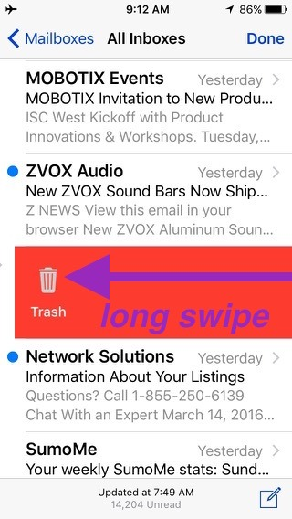 Long swipe on the email message deletes it from your iPhone when you let go