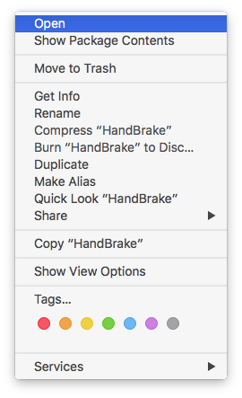 Contextual menu for an app that won't open