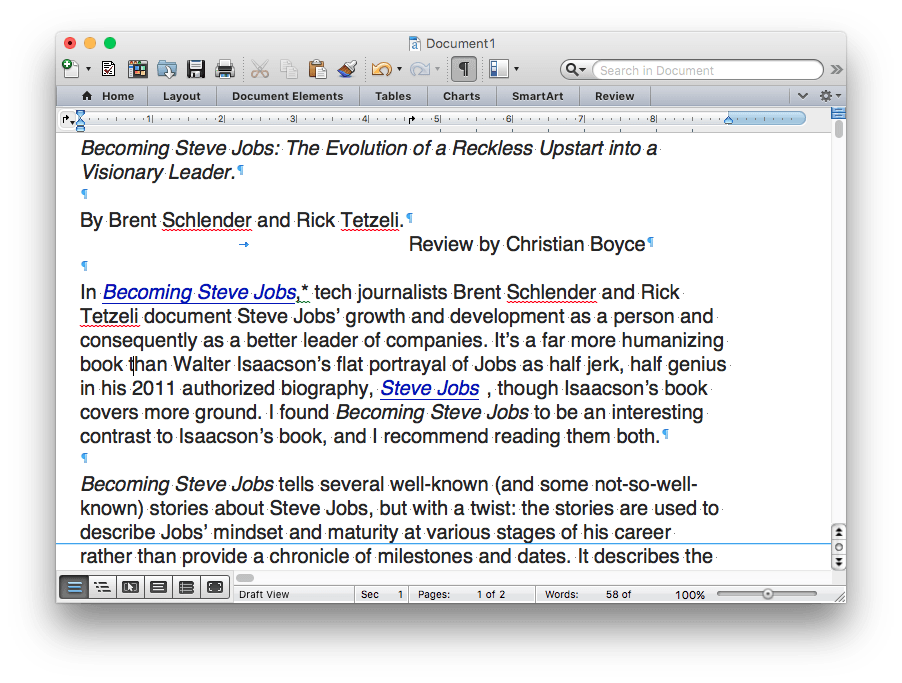 Microsoft Word 2011 Document Showing Invisible Characters
