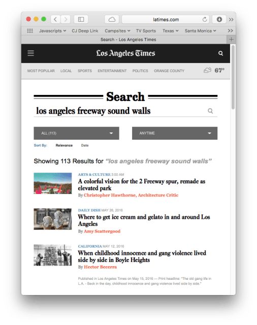 "Screenshot showing search results for ""los angeles <a style="