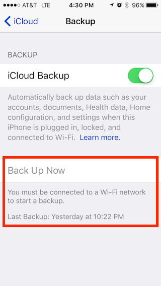 iCloud backup screenshot on iphone