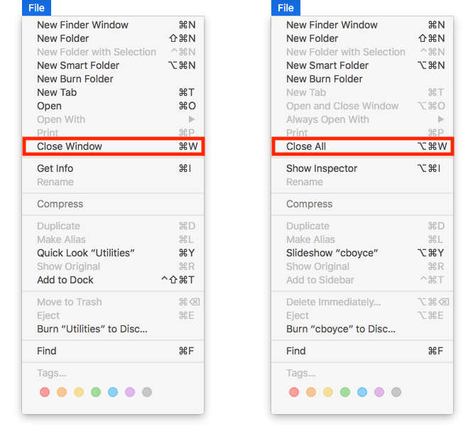 File menu with and without Option key