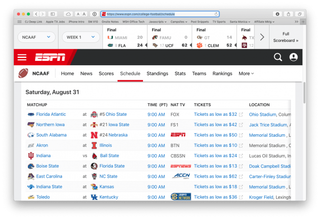 ESPN's college football schedule page