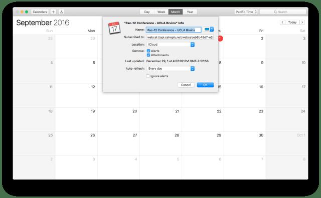 2016 UCLA Bruins college football schedule being added to a Mac's calendar