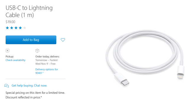Apple USB-C to Lightning cable