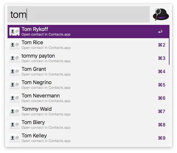 """Alfred, after typing in """"tom"""""""