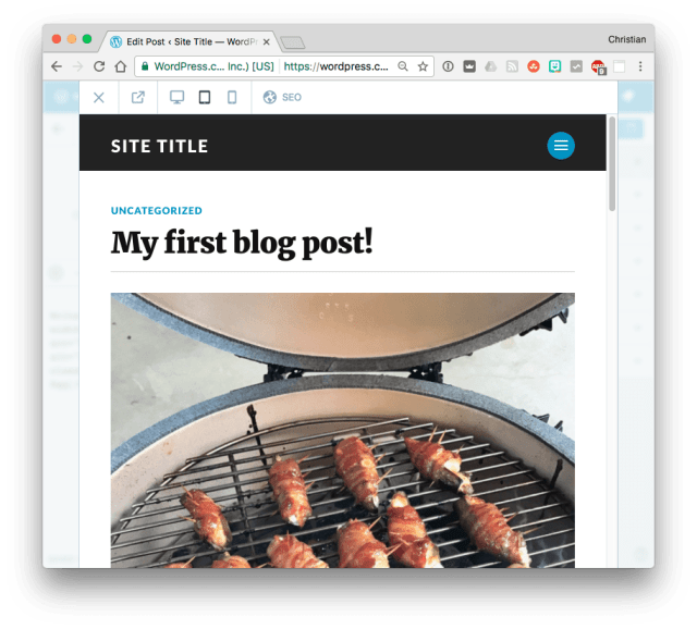 WordPress previewing blog post