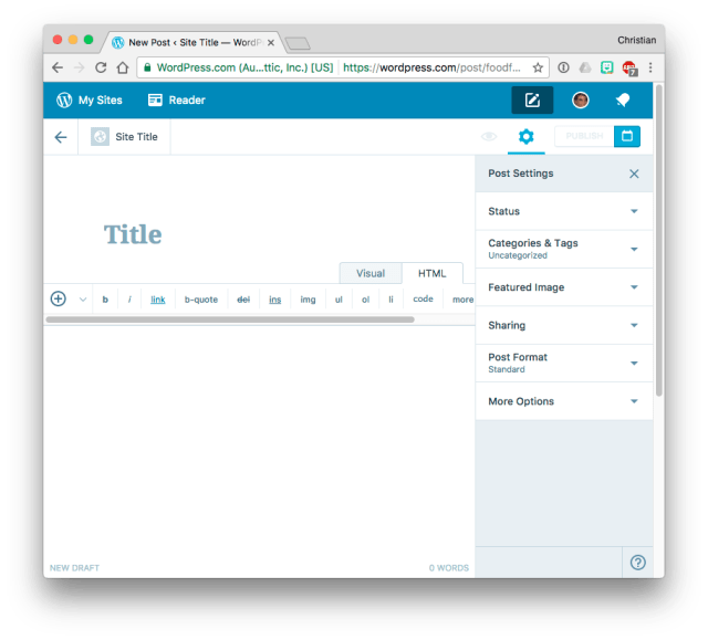 WordPress new blog post