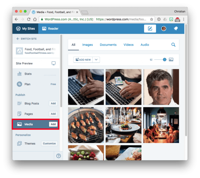 WordPress.com Dashboard Media