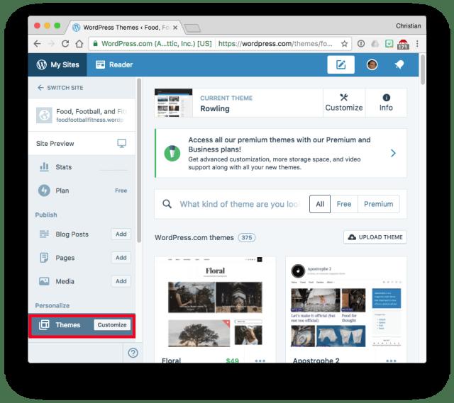 WordPress.com Dashboard Themes