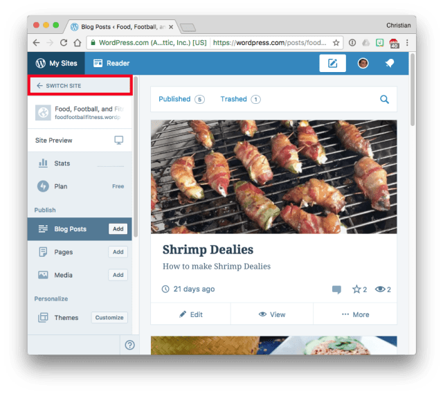 WordPress.com Switch Site
