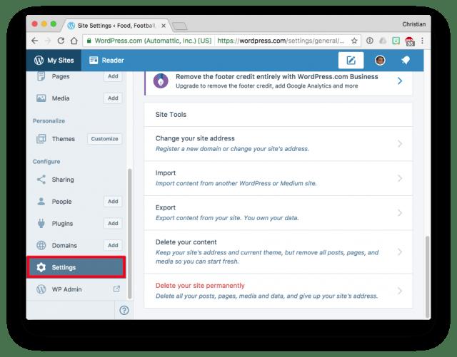WordPress Settings with Export