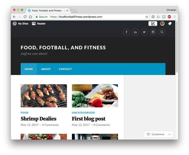WordPress.com theme menu wider